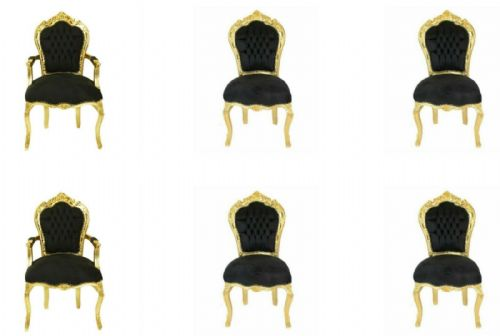 4 + 2 FRANCE BAROQUE STYLE ROYAL DINING CHAIRS - GOLD / BLACK #4GB